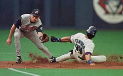 Jose stealing second base on 5/14/98 (SLAM! Sports)