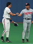 Jose shaking hands with David Justice before the game on 5/29/98 (CP Photo)