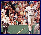 Jose drops his bat after a 422 foot homer in Boston on 7/24/98 (AP)