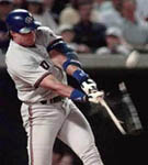 Jose's bat shattering in Anaheim on 8/22/98 (AP)