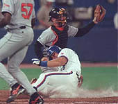Jose sliding safely into home on 9/23/98 (Toronto Sun)