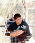 Jose ready for a pitch on 2/28/99 (Orlando Sentinel)
