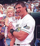 Jose and his daughter Josie before the game on 4/25/99 (SP Times)