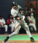 Jose launching his 27th homer to right field in Minnesota on 6/19/99 (AP)